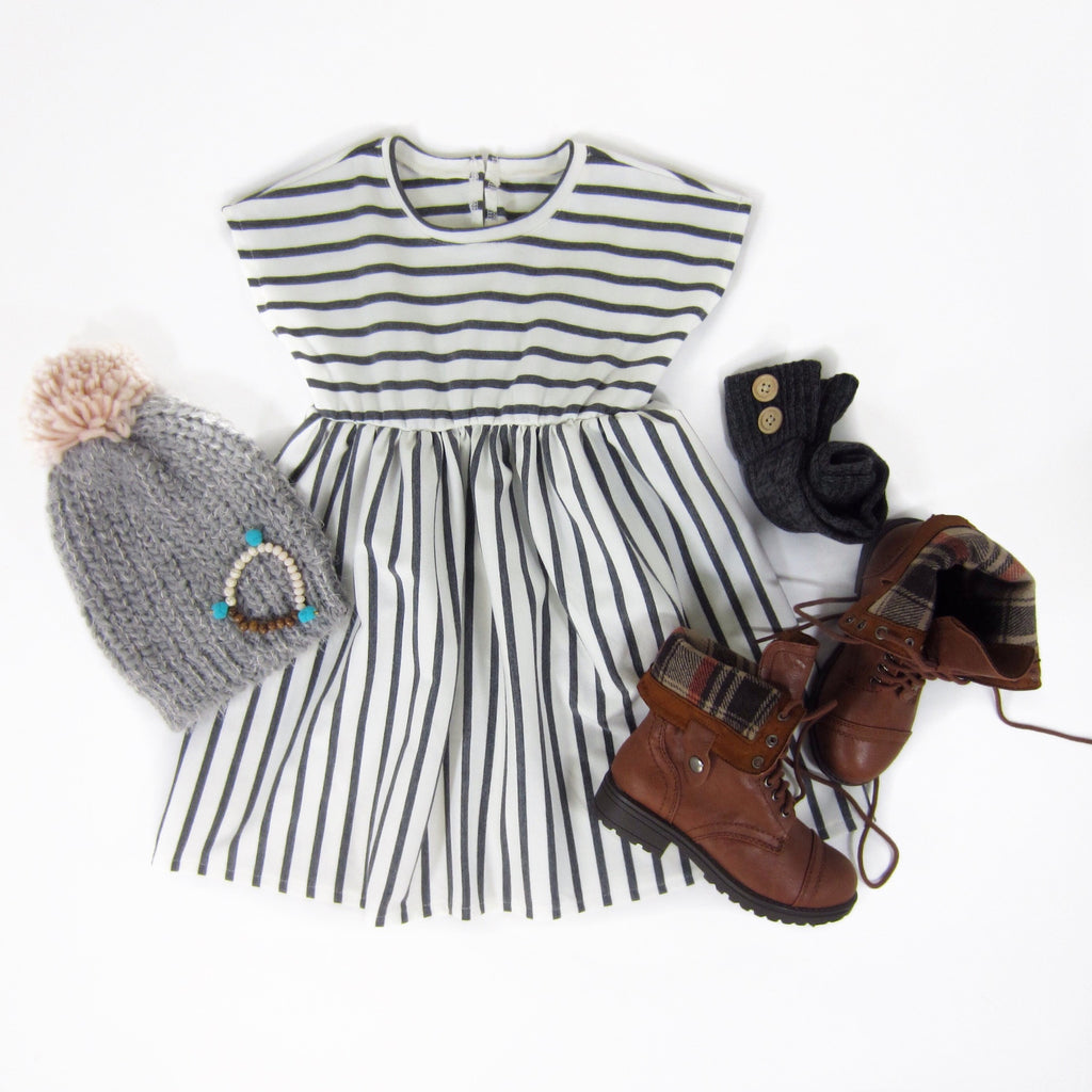 Toddler Girls Gray Striped Dress
