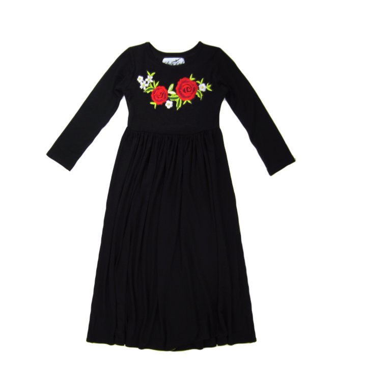 Girls Embroidered Black Dress
