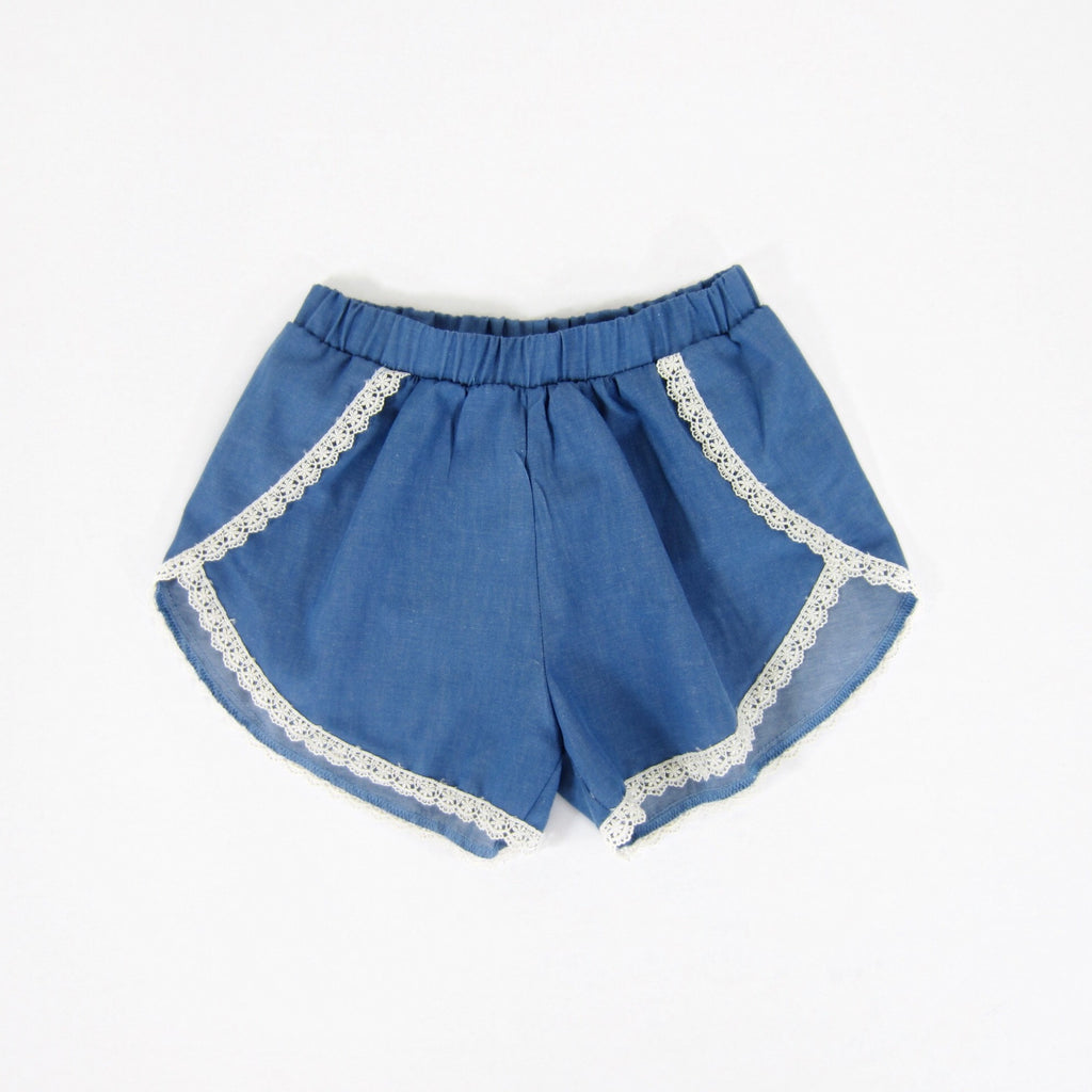Girls Blue Chambray Lace Trim Shorts