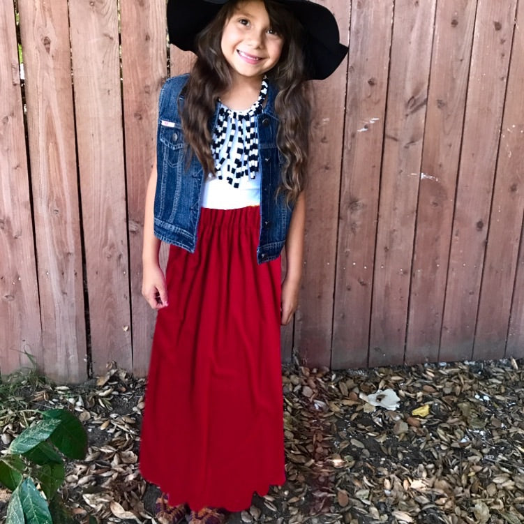 Girls Red Maxi Skirt