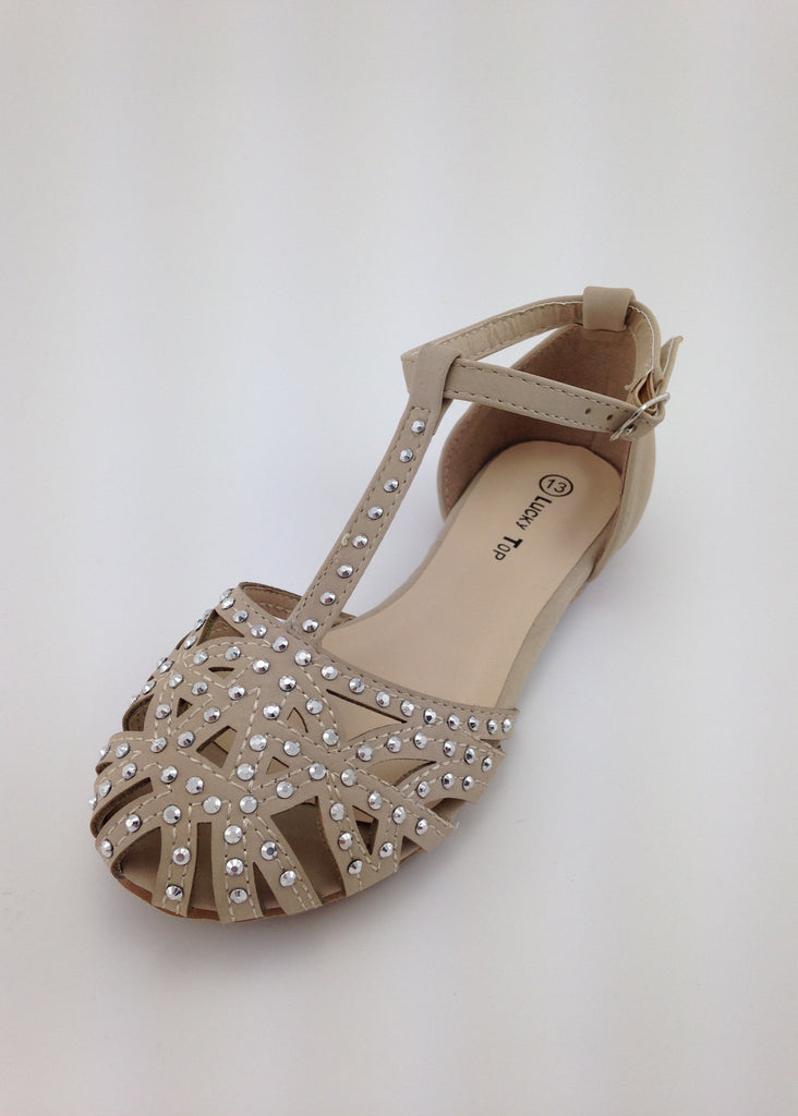 Girls Taupe D'Orsay Sandals