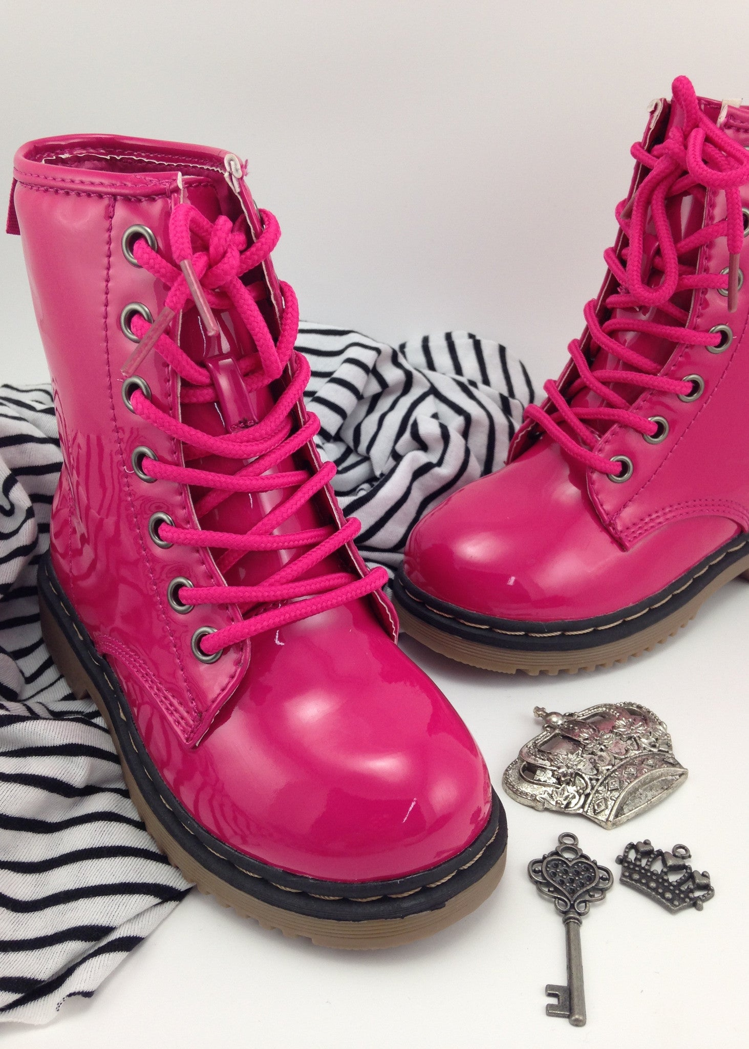 Girls Shoes | Girls Pink Patent Boots