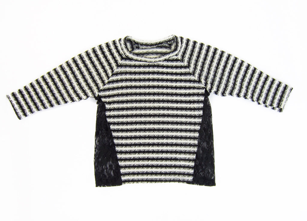 Girls Striped Lace Panel Top