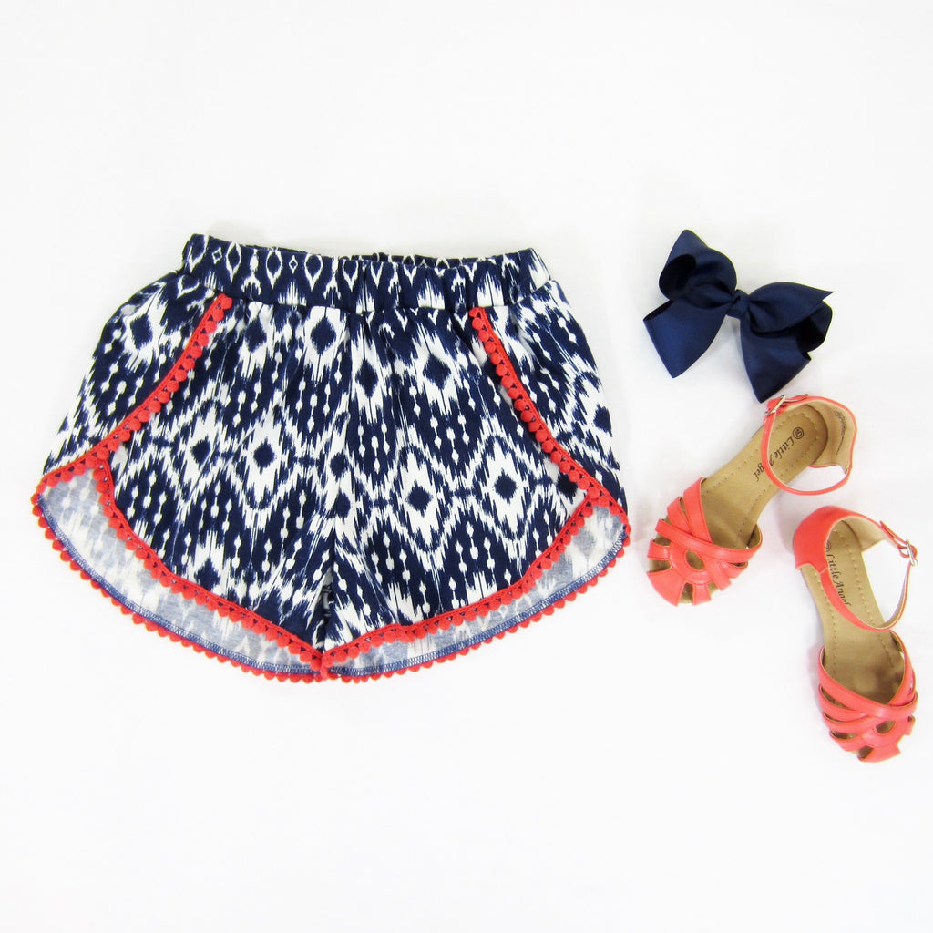 Girls Navy Ikat Tulip Shorts - Liberty Lark