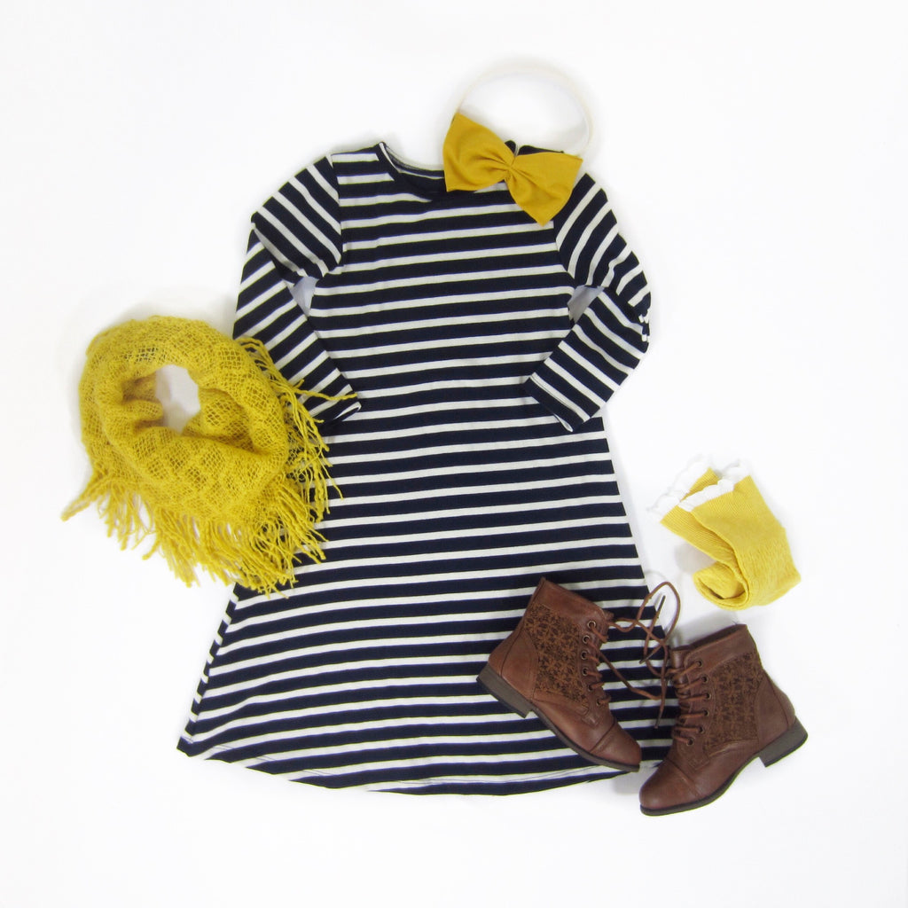 Girls Navy Striped Swing Dress