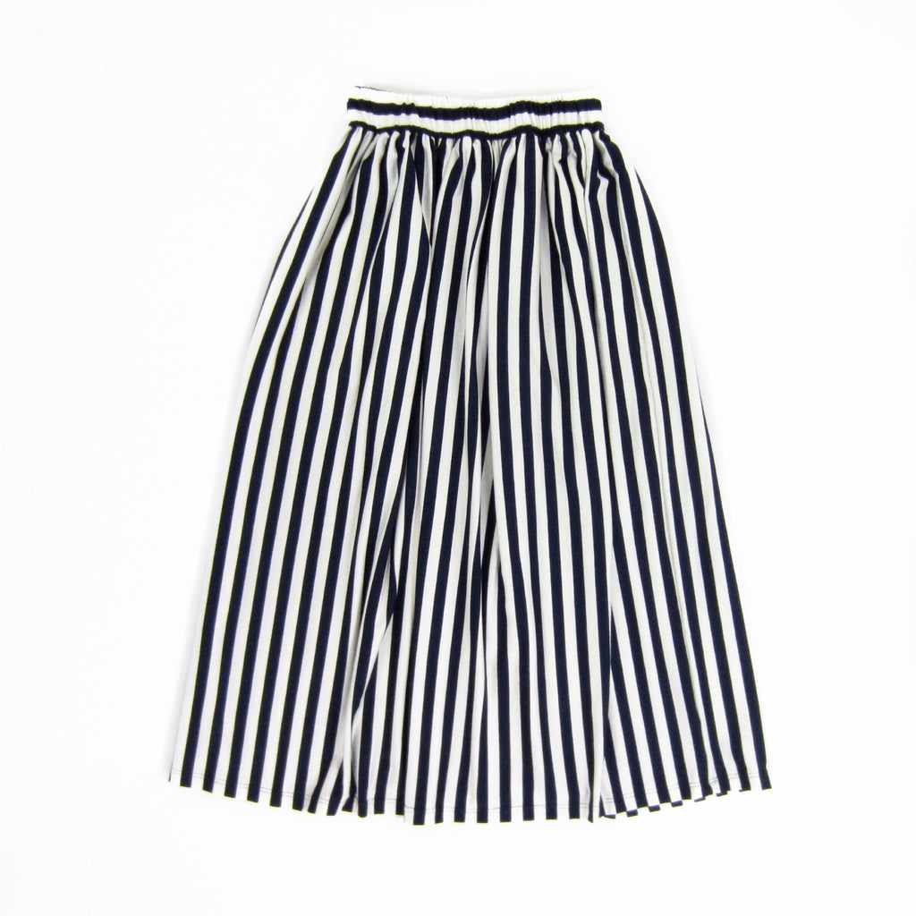 Girls Navy Striped Maxi Skirt