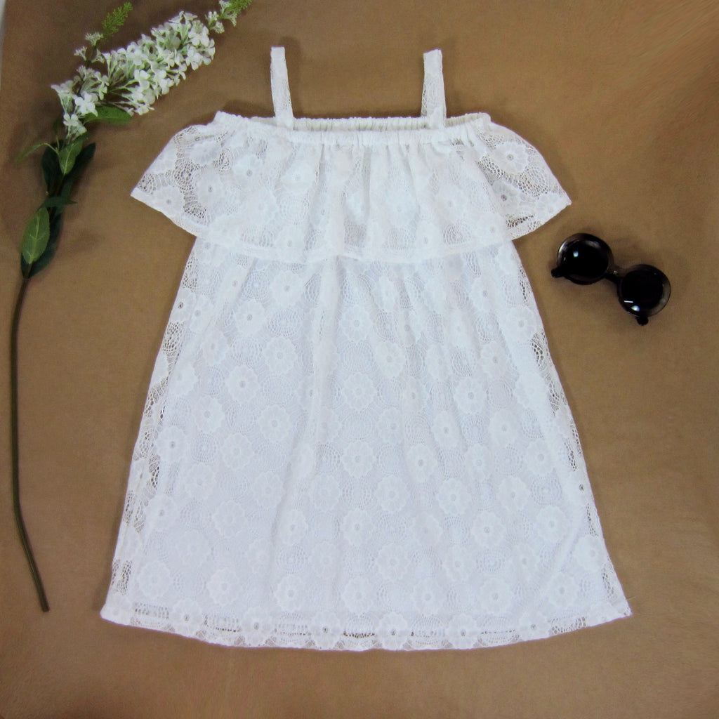 Girls White Off-the-Shoulder Lace Dress