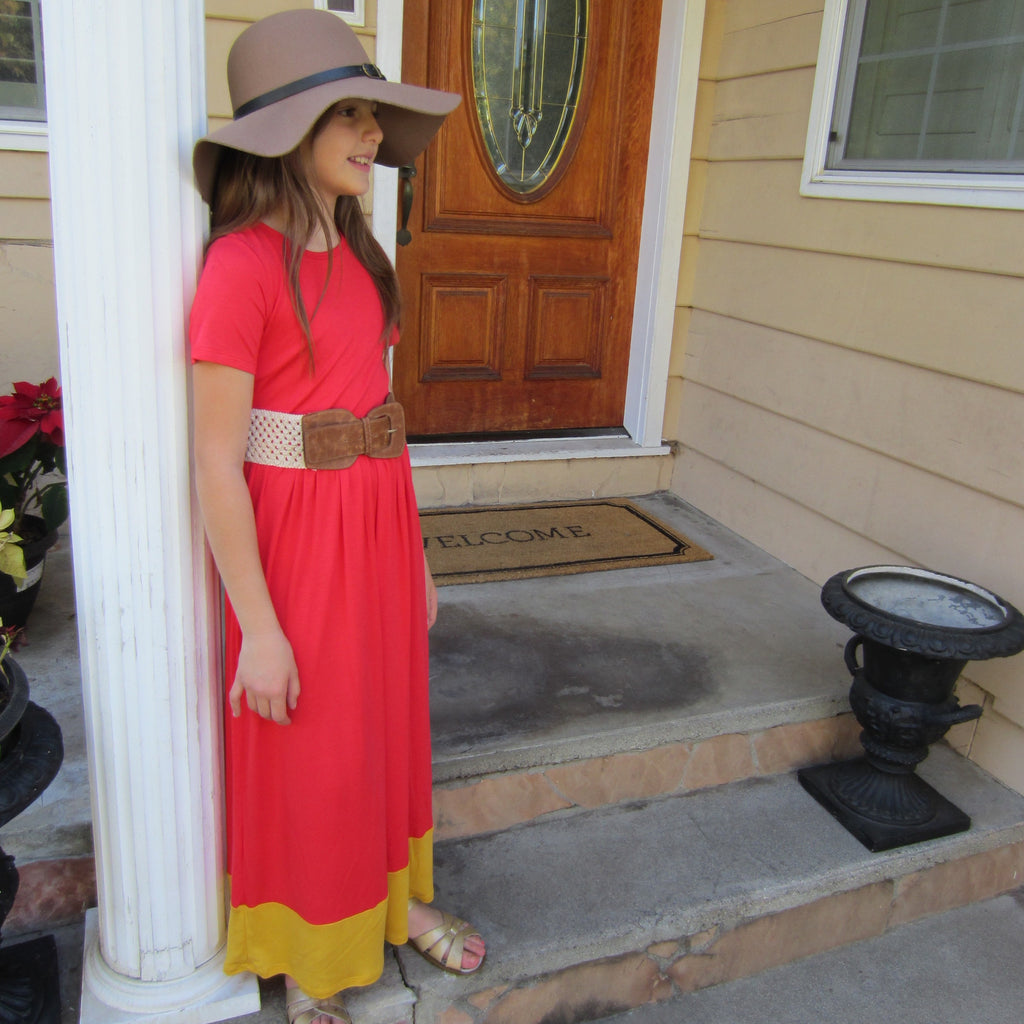 Girls Red Coral Maxi Dress