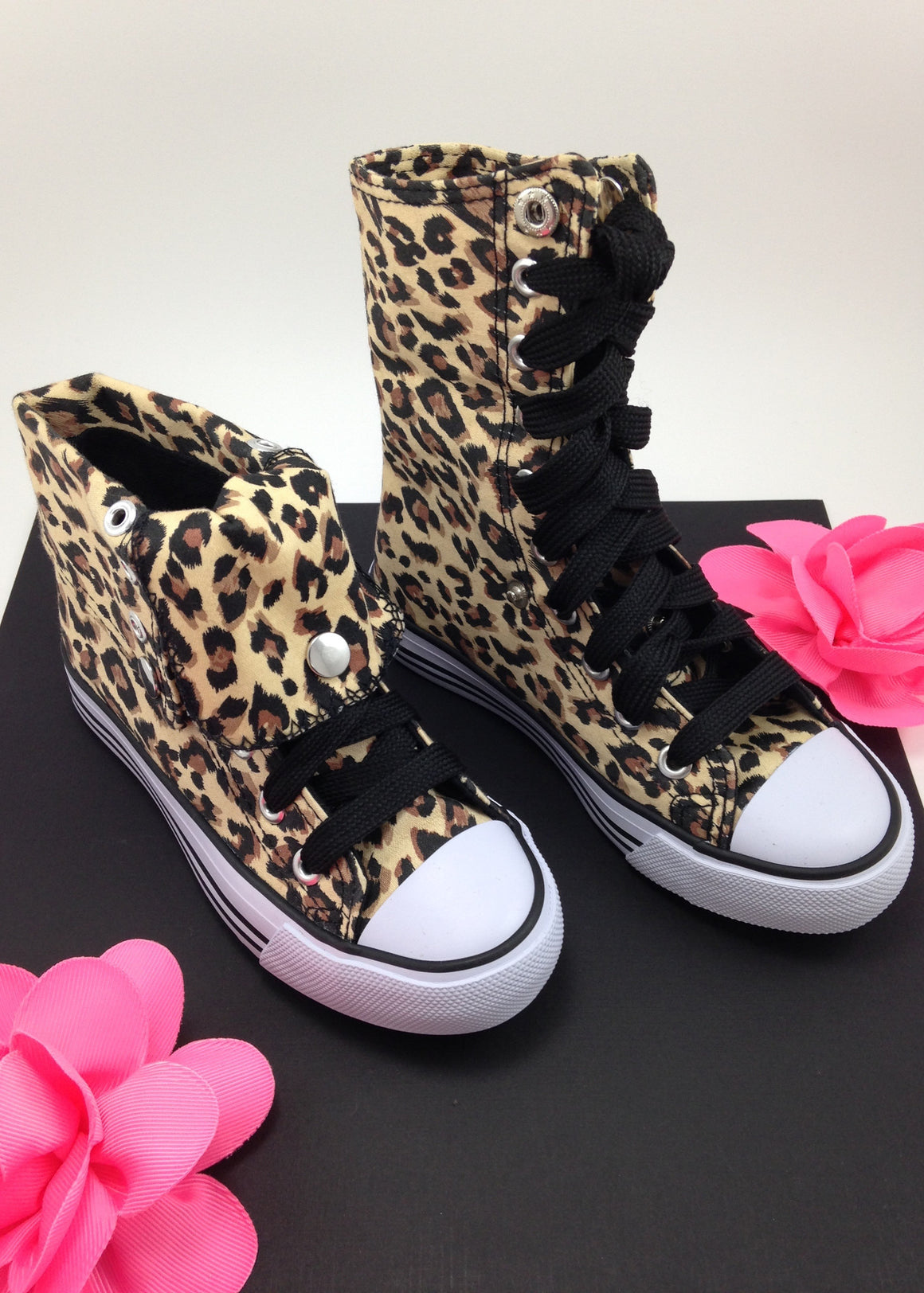 Girls Leopard Convertible Hightops