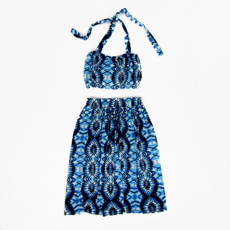 Girls Blue Tie-Dye Top and Skirt Set