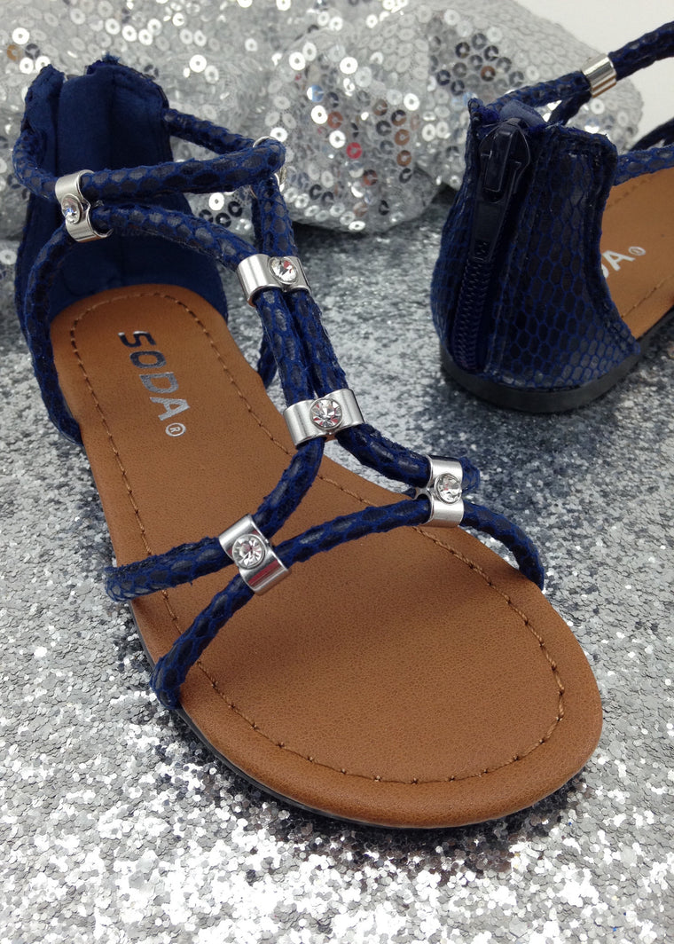 Girls Navy Blue Gladiator Sandals