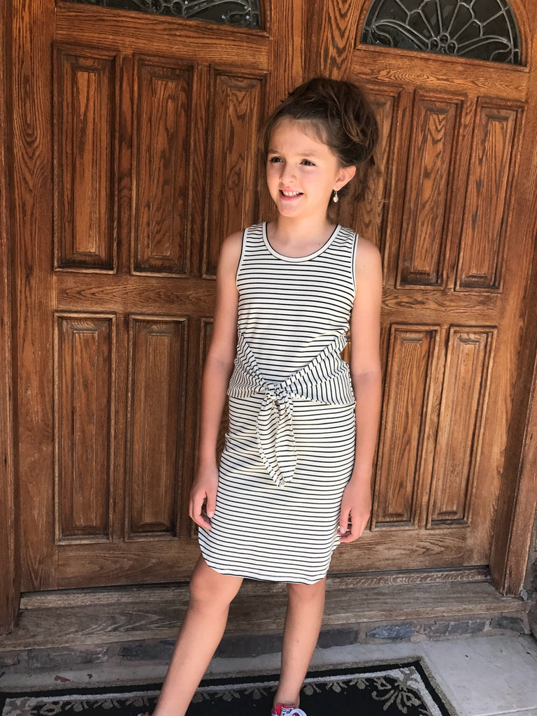 Girls Striped Tie-Knot Dress