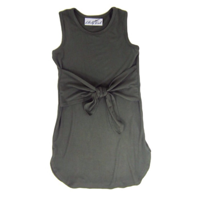 Girls Olive Green Tie-Knot Dress