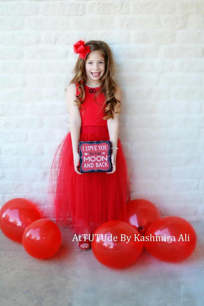 Girls Red Tulle Midi Skirt