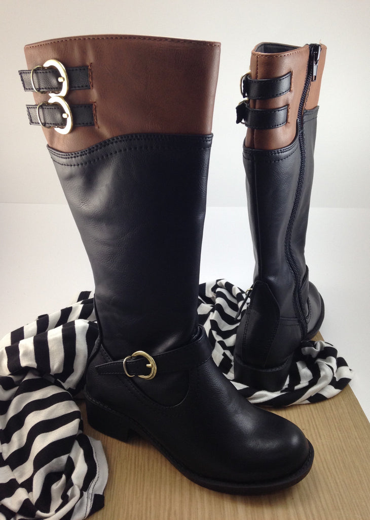 Girls Black and Tan Riding Boots