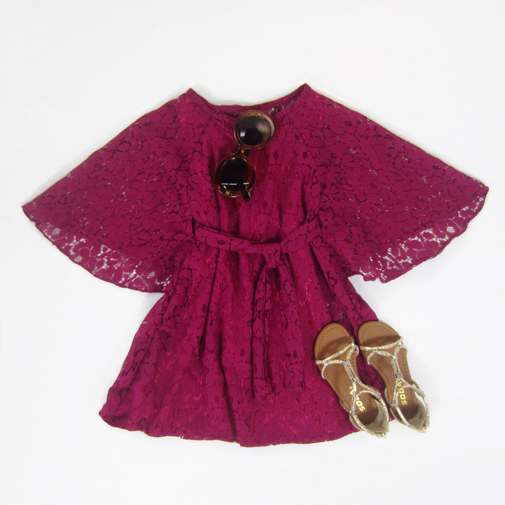 Girls Raspberry Kimono Lace Dress
