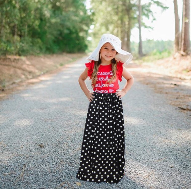 Girls Black Polkadot Maxi Skirt