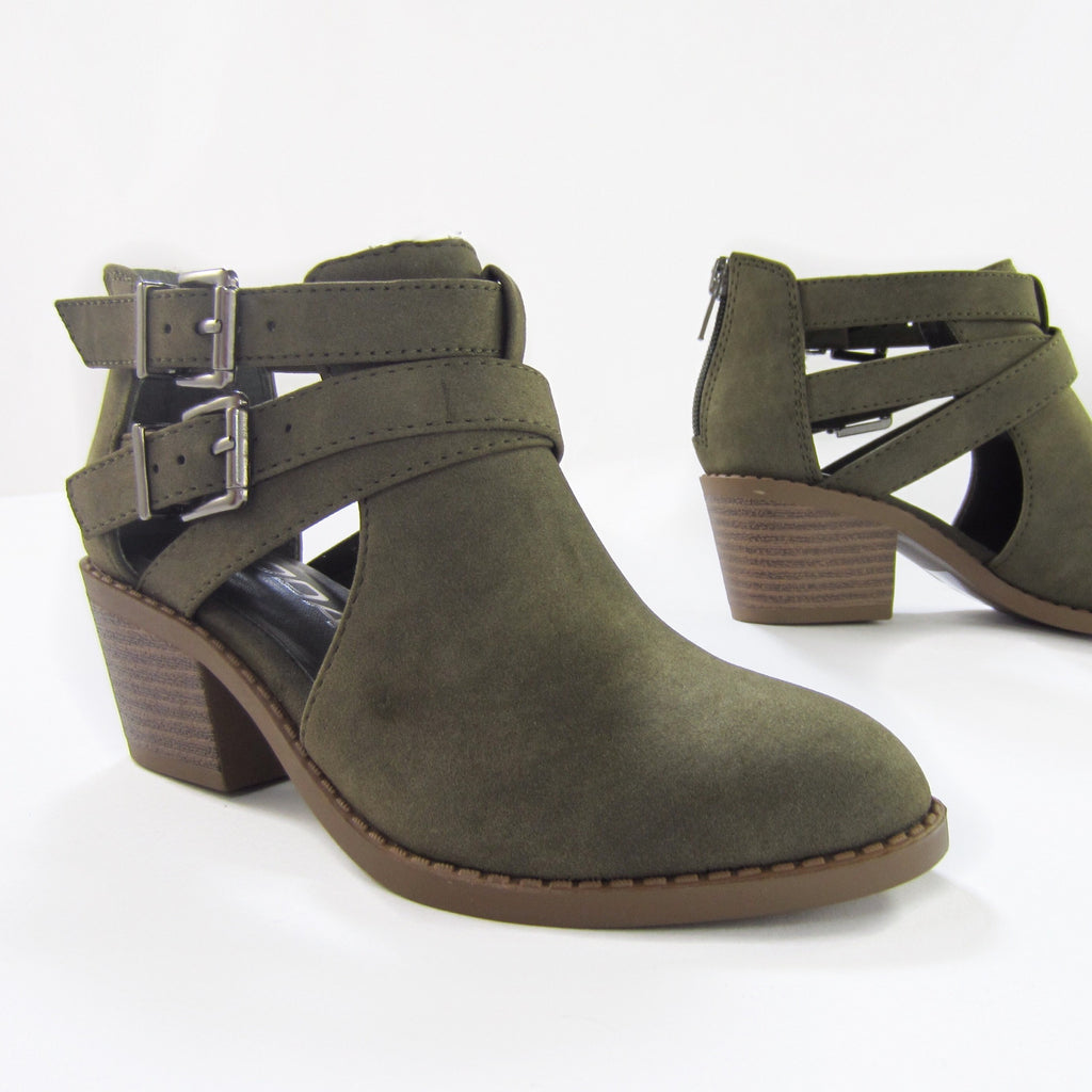 Girls Olive Ankle Boots