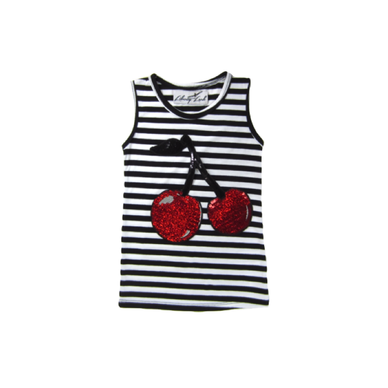 Girls Striped Cherry Top | Liberty Lark