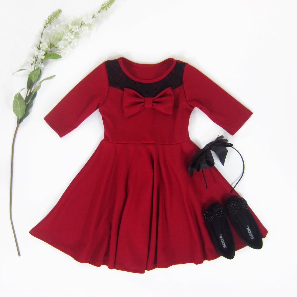 Girls Red Bow Dress