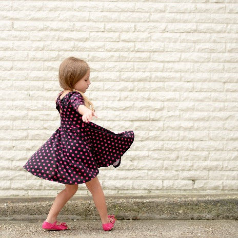 Girls Pink Polkadot Dress