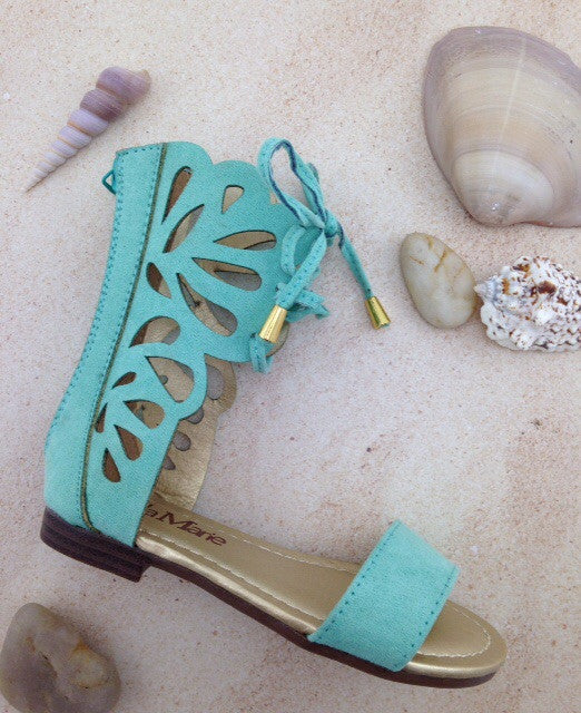 Girls Mint Scalloped Sandals