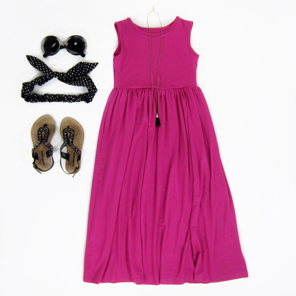 Girls Pink Sleeveless Maxi Dress