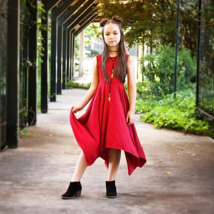 Girls Red Handkerchief Dress