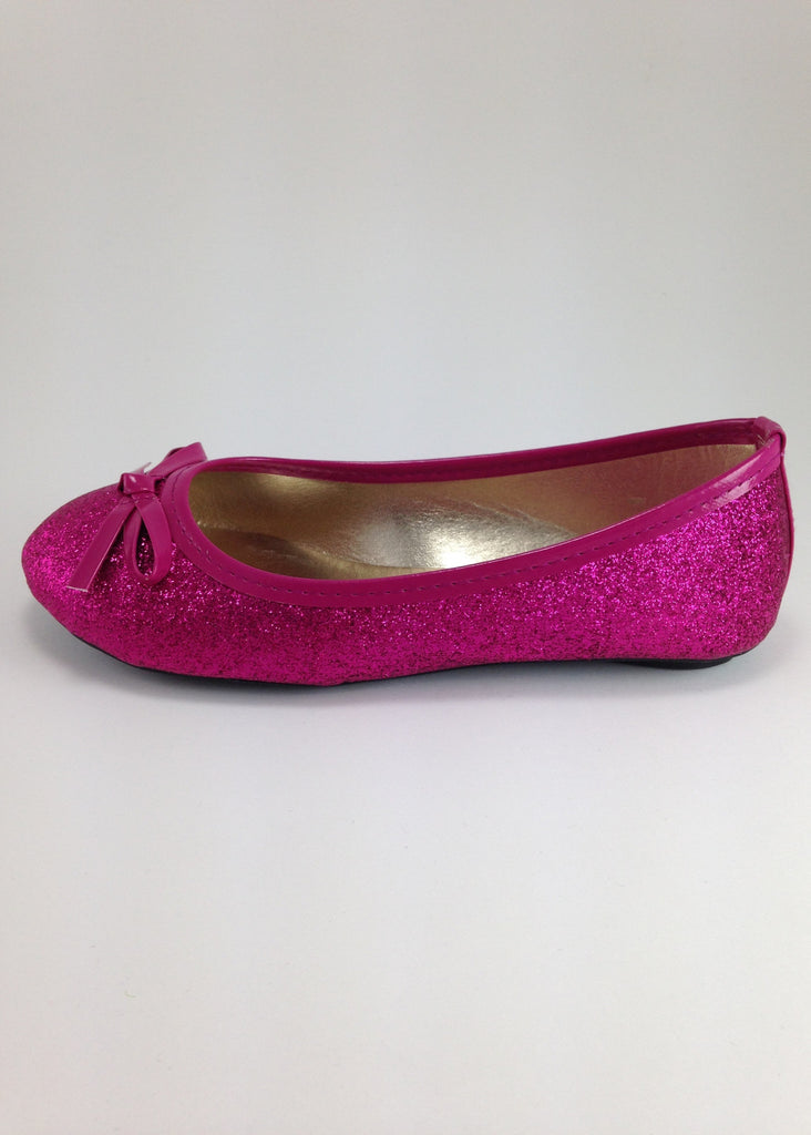 Girls Sparkly Pink Flats