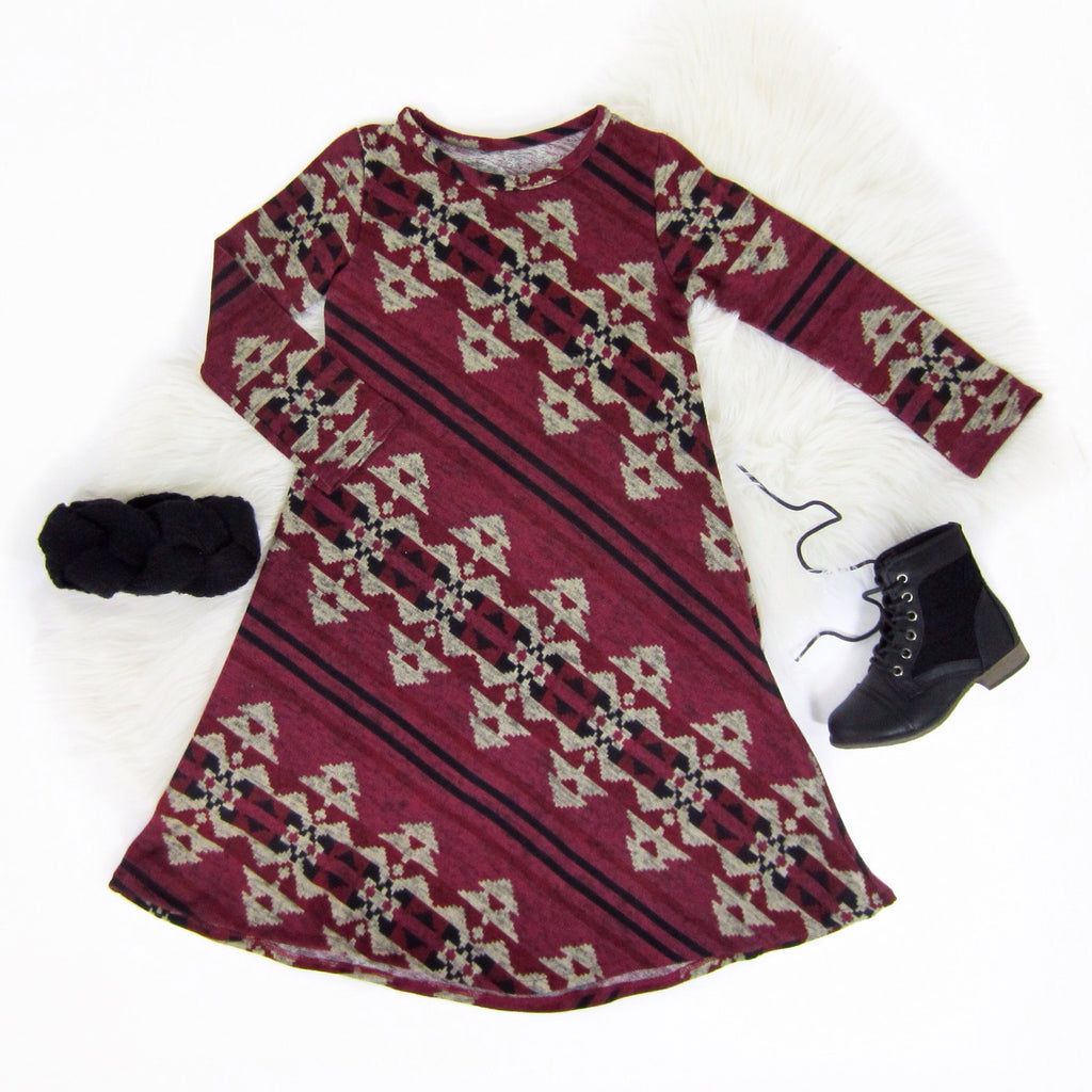 Girls Burgundy Dress
