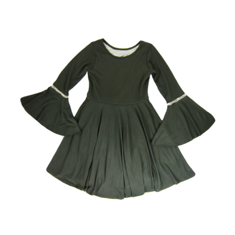 Girls Bell Sleeve Olive Green Dress