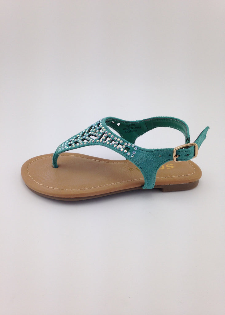 Girls Teal Cut-Out Sandals