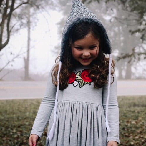 Girls Gray Maxi Dress with Embroidered Appliqué