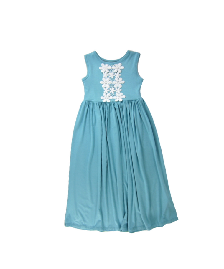 Girls Aqua Sky Sleeveless Maxi Dress