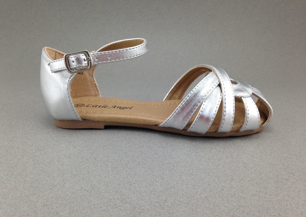 Girls Silver D'Orsay Sandals