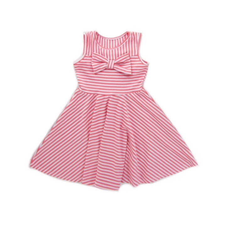 Girls Striped Coral Dress