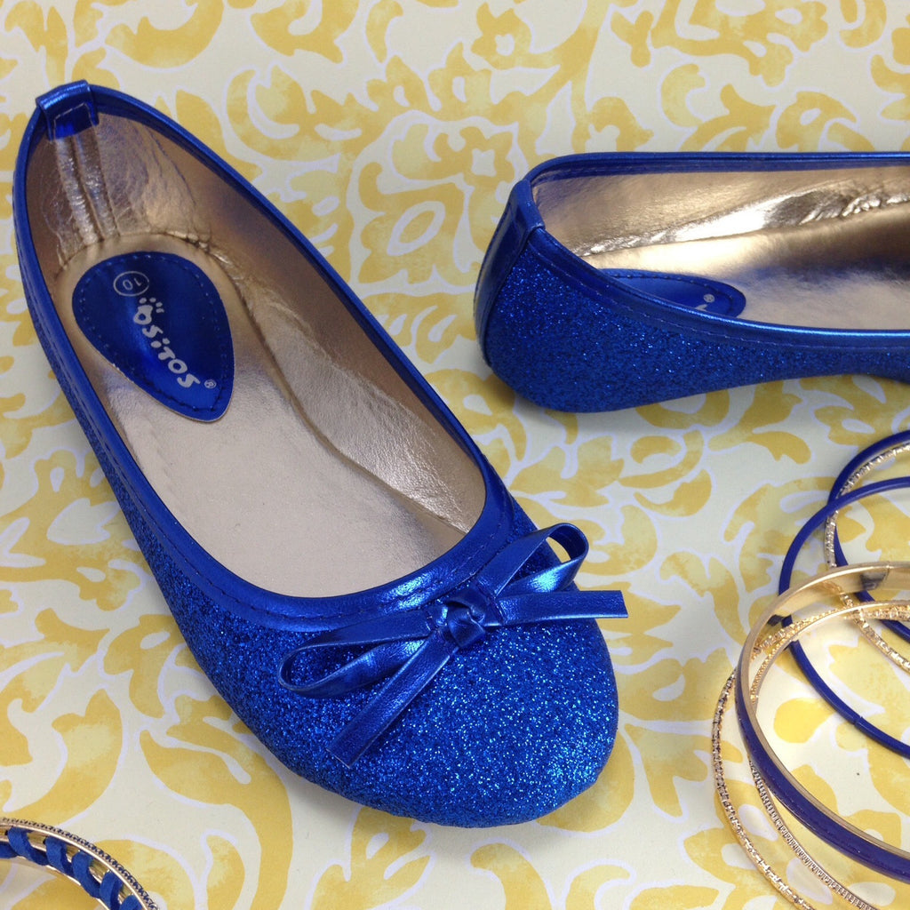 Girls Sparkly Cobalt Shoes