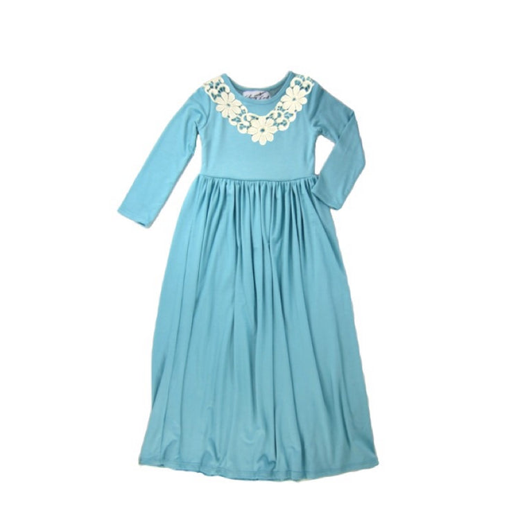 Girls Aqua Sky Maxi Dress with Applique