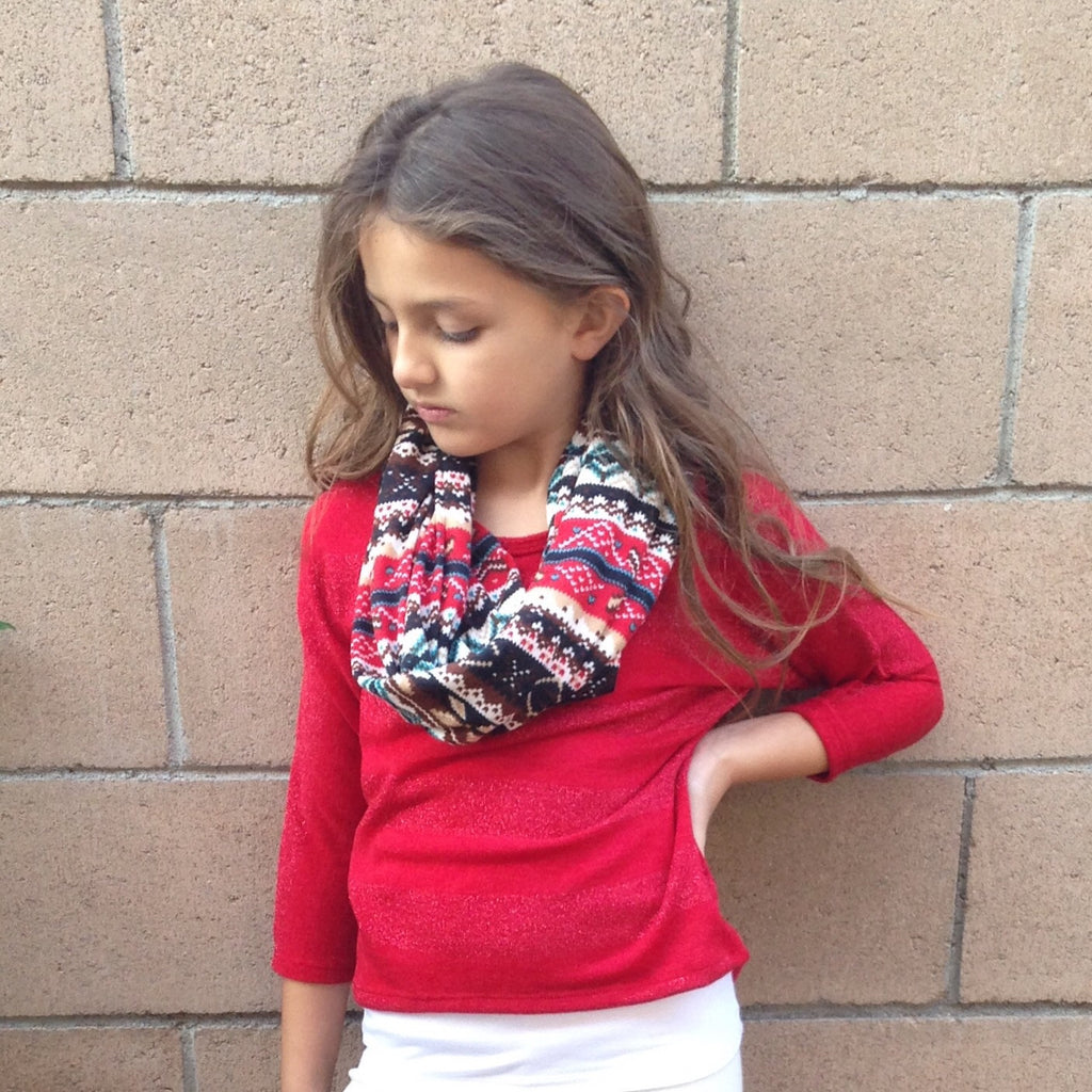 Girls Red Dolman Top