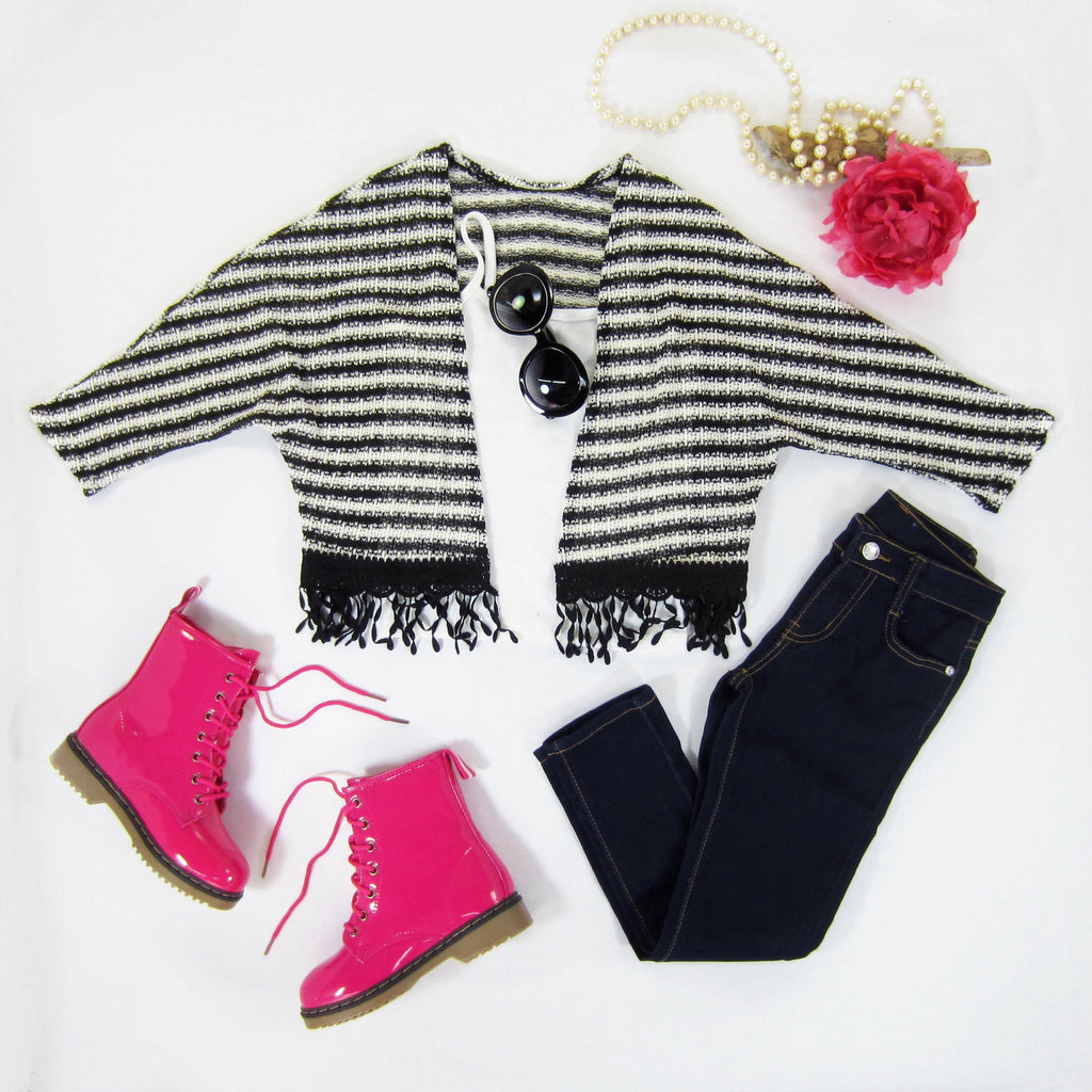 Girls Striped Fringe Cardigan