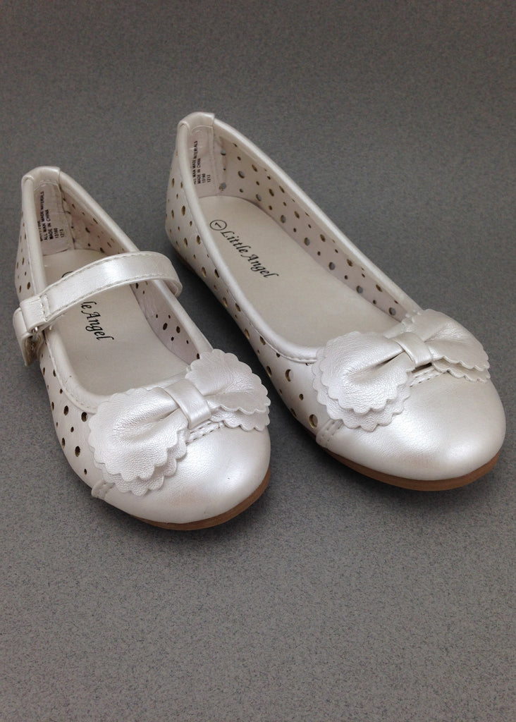 Girls Ivory Perforated Flats
