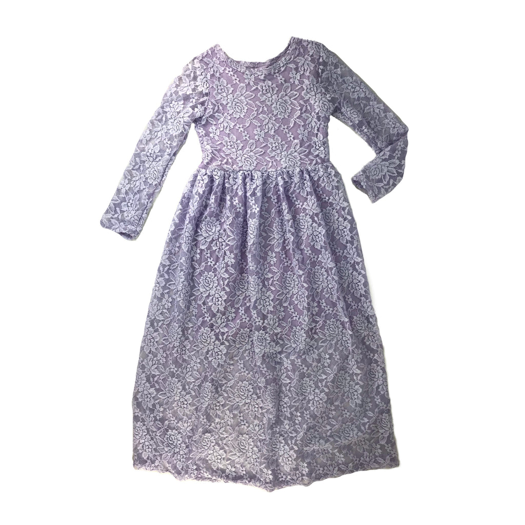 Girls Lilac Lace Maxi Dress