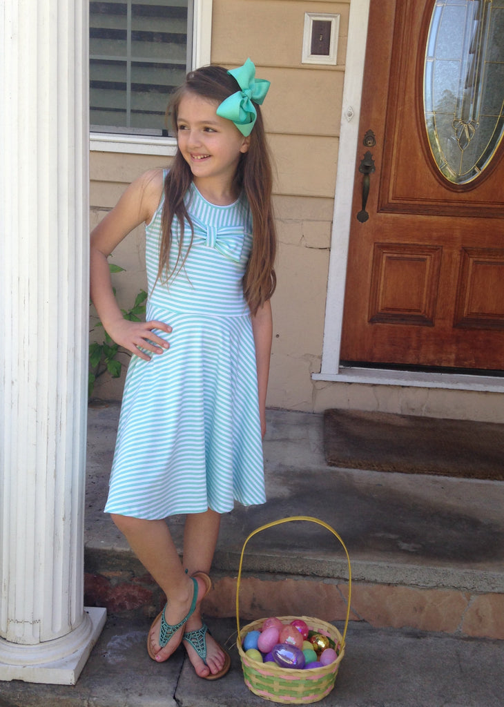 Girls Mint Striped Dress