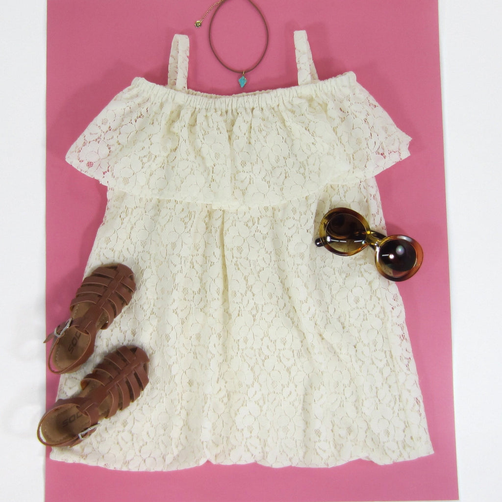 Girls Ivory Off the Shoulder Dress