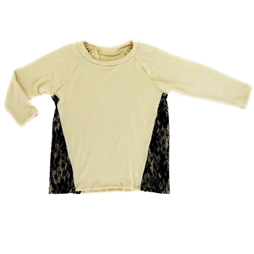 Girls Tan Lace Panel Top