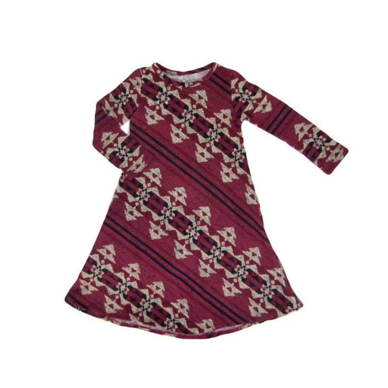 Girls Long Sleeve Burgundy Dress