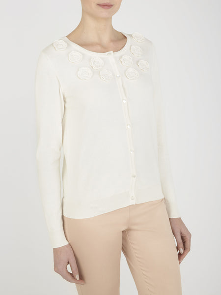 Cream Orchid Embroidered Cardigan