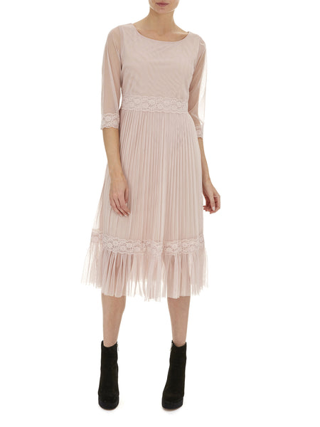 Nude Pink Petunia Lace Frill Dress - Nougat London - 1