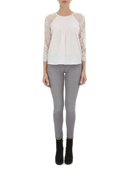 Cream Heather Lace Sleeve Blouse - Nougat London - 1