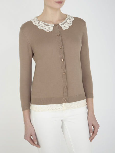 Taupe Hyacinth Collar Cardigan